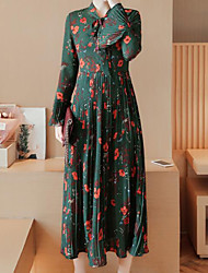2017 Korean version of the Slim was thin temperament long-sleeved chiffon long section