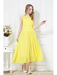 Spring and summer yellow lace chiffon dress bohemian beach dress Specials