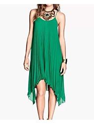 Aliexpress nova moda três hem irregular hem plissado vestido vestido de chiffon