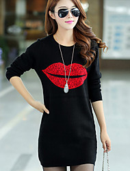 Women's Plus Size Going out Club Simple Sweatshirt Print Round Neck Micro-elastic Cotton Long Sleeve Winter
