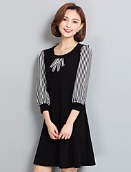 Damen Gestreift Einfach Ausgehen T-shirt,Rundhalsausschnitt ¾-Arm Baumwolle