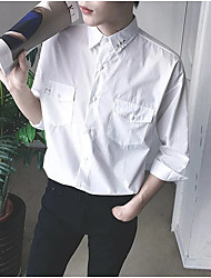 Men's Casual/Daily Simple Shirt,Solid Embroidered Shirt Collar ¾ Sleeve Cotton