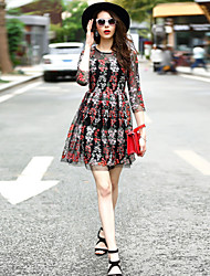 Women's Going out Casual/Daily Work Loose Dress,Embroidered Round Neck Above Knee ½ Length Sleeve Polyester Spring Summer High Rise