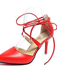 Damen-High Heels-Hochzeit Kleid Party & Festivität-PU-Stöckelabsatz-Club-Schuhe-Schwarz Beige Rot