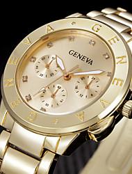 Damen Modeuhr Armbanduhr Quartz Strass Edelstahl Band Cool Silber Gold Gold Silber Rose