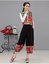 знак лето новые национальный ветра ретро китайские женщины&# 39, S свободные большие ярдов широкие брюки ноги случайные колготки