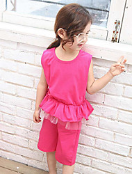 Girls' Casual/Daily Patchwork Sets,Cotton Summer Sleeveless Clothing Set