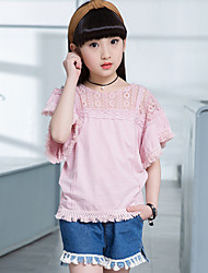Girls' Going out Casual/Daily Holiday Patchwork Sets Cotton Summer Short Sleeve Lace Top Shorts 2 Pieces Clothing Set