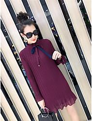 подписать новый 2017 высокого класса пользовательских обжимной корейской версии была тонкая талия шифон труба рукавом платье