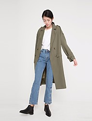 Women's Casual/Daily Simple Fall Winter Trench Coat,Solid Square Neck Long Sleeve Long Modal