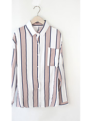 Women's Casual/Daily Simple T-shirt,Striped Halter Long Sleeve Cotton