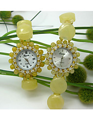 Women's Fashion Watch Quartz Jade Band Yellow