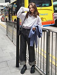 Order seoul Korea Street beat retro casual jeans torn edges curling loose wide leg pants