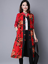 Women's Holiday Boho Spring Coat,Floral Stand Long Sleeve Long Linen