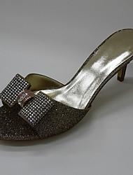 Damen-Sandalen-Büro Kleid Lässig-Glanz-Stöckelabsatz-Fersenriemen Club-Schuhe-Gold Schwarz Braun