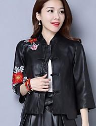 Feminino Jaquetas de Couro Casual Vintage Primavera,Floral Curto Poliuretano Colarinho Chinês Manga ¾