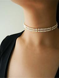 Mujer Gargantillas Obsidiana Forma Geométrica Perla Artificial Legierung Perla Artificial Moda Personalizado Euramerican Hecho a mano