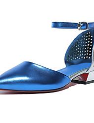 Women's Heels Summer Fall Comfort Light Soles Cowhide Microfibre Office & Career Dress Casual Low Heel Buckle Split Joint Hollow-out