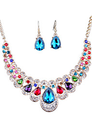 The New Fashion Diamond Necklace Earrings Set Bride Exaggerated
