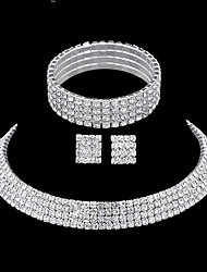 Women's Four Row Full Crystal Choker Necklace Tennis Stretch Bracelet  Stud Earrings Wedding Jewelry Set(1 Set)