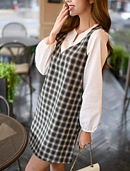 Sign in spring and summer 2017 Korean Women Hitz loose waist was thin plaid V-neck long-sleeved dress