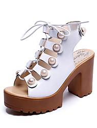 Women's Heels Club Shoes PU Spring Summer Dress Party & Evening Club Shoes Pearl Lace-up Hook & Loop Chunky Heel Block HeelWhite Black