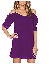 Damen Tunika Kleid-Lässig/Alltäglich Solide Rundhalsausschnitt Übers Knie Ärmellos Baumwolle Sommer Mittlere Hüfthöhe Mikro-elastisch