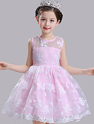 Ball Gown Short / Mini Flower Girl Dress - Cotton Satin Tulle Jewel with Bow(s) Embroidery Sash / Ribbon