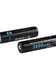 Soshine s 3600mAh protected 18650 3.7V batteries rechargeables au lithium Li-ion réglé