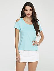 Damen Solide Einfach Lässig/Alltäglich / Übergröße T-shirt,Rundhalsausschnitt Sommer ½ Länge Ärmel Blau / Rot / Weiß / Schwarz / Gelb