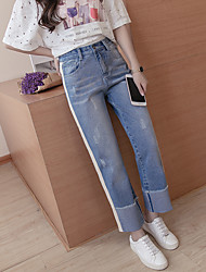 Sign spring and summer new Korean version was thin loose jeans straight jeans feet female rummaged Ribbon