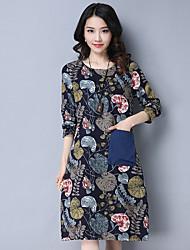 signe printemps 2017 nouvelles femmes de grande taille&# 39; impression col rond vent national long robe de coton