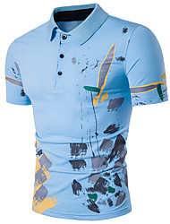 Men's Going out Casual/Daily Sexy Simple Street chic Summer Polo,Print Shirt Collar Short Sleeves Cotton Polyester
