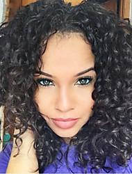 Natural Black Full Lace Human Hair Wigs Kinky Curly Hair 130% Density Peruvian Virgin Hair Adjustalbe Wigs for Black Woman