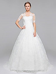 LAN TING BRIDE Celebrity Style Wedding Dress - Ball Gown Sweep / Brush Train Bateau Lace with Appliques Draped