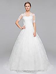 Lanting Bride® Robe de Soirée Robe de Mariage  Tout Simplement Superbe Traîne Brosse Bateau Dentelle avec Appliques Drapée