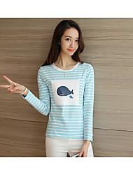 Damen Gestreift Einfach Lässig/Alltäglich T-shirt,Rundhalsausschnitt Langarm Baumwolle