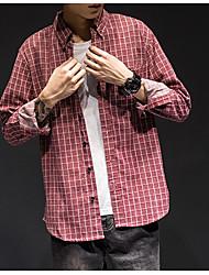 Men's Casual/Daily Simple Shirt,Check Shirt Collar Long Sleeve Cotton
