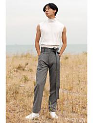 Masculino Simples Cintura Alta Inelástico Chinos Calças,Reto Cor Única,Patchwork