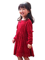 Robe Fille de Couleur Pleine Coton Toutes les Saisons Manches longues