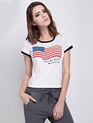2016 verão estilo europeu novo bandeiras letras impressas de manga curta t-shirt fêmea selvagem magro