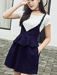 Really making new denim strap dress flouncing big swing skirt suit women