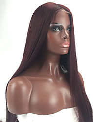 Soft Ombre Silky Straight 99j Dark Wine Cheap Wig 24 Inch Brazilian Human Virgin Hair GLueless Lace Front Wigs With Baby Hair For Black Women On Sale