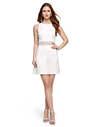 2017 TS Couture® Cocktail Party Dress - Elegant Beautiful Back A-line Jewel Short / Mini Lace with Pleats