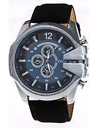 Men's Fashion Big Dial Imitation Leather Strap Steel Quartz Watch