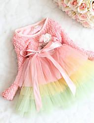 Menina de Vestido Casual Arco-Íris Primavera Algodão Manga Longa