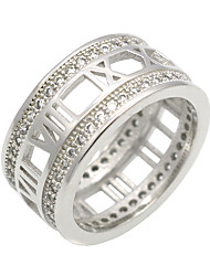 Unisex Roman Numerals Hollow Brand Cubic Zirconia Circles 316L Stainless Steel Rings For  Women