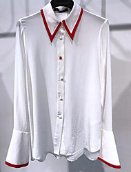 Women's Casual/Daily Simple Spring Blouse,Solid Shirt Collar Long Sleeve Cotton Thin