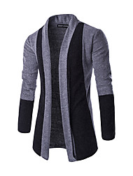 Men's Going out Casual/Daily Regular Cardigan,Color Block Shirt Collar Long Sleeves Polyester Spring Fall Thin Micro-elastic