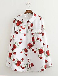 Damen Blumen Einfach Lässig/Alltäglich T-shirt,Rundhalsausschnitt Langarm Polyester Mittel